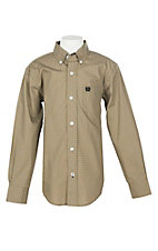 Cinch Boys' Khaki Print L/S Western Shirt