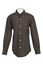 Cinch Boy's Black and Brown Diamond Print L/S Western Shirt