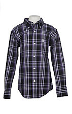 Cinch Boys Purple and Black Plaid Print L/S Western Shirt