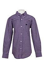 Cinch Boys Purple and White Checker Print L/S Western Shirt