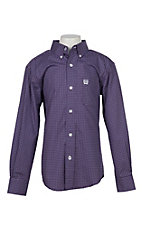 Cinch Boys Purple Square Print L/S Western Shirt