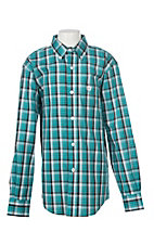 Cinch Boys Teal Plaid L/S Western Shirt