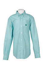 Cinch Boys Teal Geo Print L/S Western Shirt