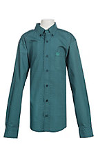 Cinch Boy's Dark Teal Oval Print L/S Western Shirt