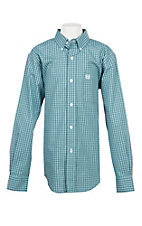Cinch Boys Checkered Blue Western Button Down