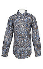 Cinch Boys Blue and Brown Paisley Long Sleeve Western Shirt