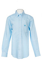 Cinch Boys Mini Striped Turquoise Long Sleeve Western Shirt