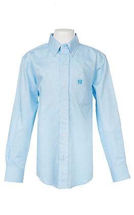 Cinch Boys Mini Striped Turquoise Long Sleeve Western Shirt