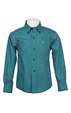 Cinch Toddler Boy's Turquoise and Blue Print Long Sleeve Western Shirt