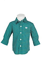 Cinch Boy's Infant Green and Blue Mini Print Long Sleeve Western Shirt