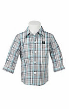 Cinch Infant Grey, Teal, and White Plaid L/S Western Shirt