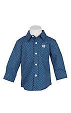 Cinch Infant Blue Grid Print Long Sleeve Western Shirt