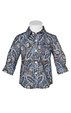 Cinch Infant Boys Blue and Brown Paisley Long Sleeve Western Shirt (3M-12M)