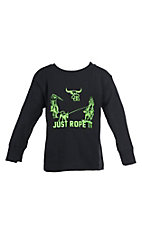 Cowboy Hardware Boys Toddlers Black with Lime Green Just Rope It Long Sleeve T-Shirt