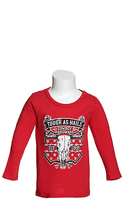 Cowboy Hardware Toddlers' Red Tough As Nails Graphic Long Sleeve T-Shirt