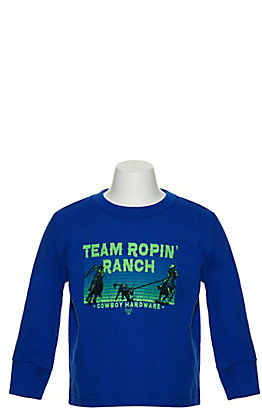 Cowboy Hardware Kids Royal Blue Team Roping Graphic Long Sleeved T-shirt