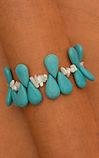 Turquoise Teardrop with Pearl Chip Beads Bracelet