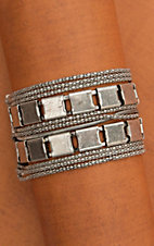 Antiqued Silver Square Bracelet