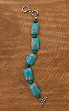 Wired Heart Square Natural Turquoise Stone Bracelet