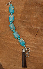 Wired Heart Square Natural Turquoise Stone with Brown Tassel Dangle Bracelet