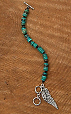 Wired Heart Natural Turquoise with Wing Dangle Bracelet