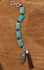 Wired Heart Square Natural Turquoise Stone with Embellished Feather Bracelet