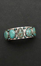 Isac Silver with Turquoise Stones Cuff Bracelet