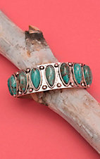 Wired Heart Silver with Oval Turquoise Stones Cuff Bracelet