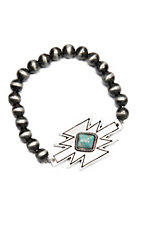Wired Heart Silver w/ Turquoise Stone on an Aztec Pendant Stretch Bracelet