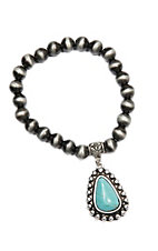 Wired Heart Silver w/ Turquoise Stone Charm Stretch Bracelet