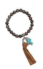 Wired Heart Chocolate Natural Gemstone w/ Cross Charm and Fringe Stretch Bracelet