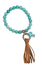 Wired Heart Turquoise Natural Gemstone w/ Cross Charm and Fringe Stretch Bracelet