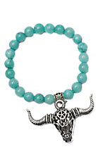 Wired Heart Turquoise Natural Gemstone w/ Skull Charm Stretch Bracelet