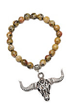 Wired Heart Mustard Natural Gemstone w/ Skull Charm Stretch Bracelet