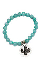 Wired Heart Turquoise Natural Gemstone w/ Cactus Charm Stretch Bracelet