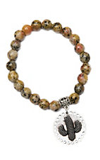 Wired Heart Mustard Natural Gemstone w/ Cactus Charm Stretch Bracelet