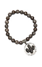 Wired Heart Chocolate Natural Gemstone w/ Cactus Charm Stretch Bracelet