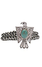 Wired Heart Silver Double Strand w/ Large Turquoise Stone Thunderbird Stretch Bracelet