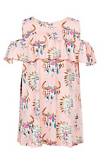 Lore Mae Girls Pink Skull Print Ruffled Cold Shoulder Dress