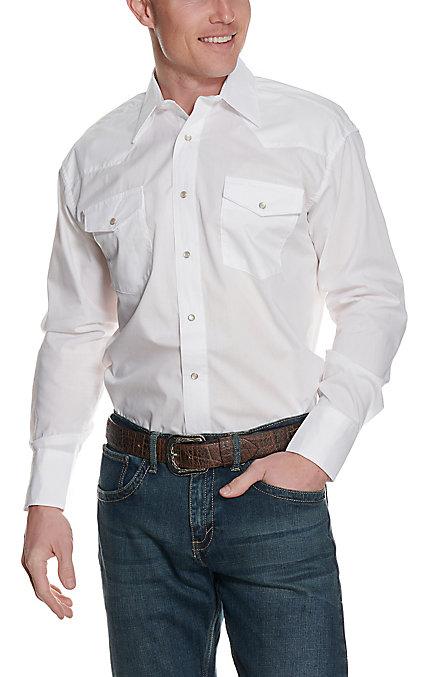 1669794ff1d Wrangler Men's White Long Sleeve Western Shirt