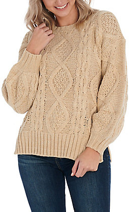 Hem & Thread Women's Taupe Knitted Sweater