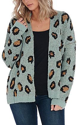 Hem & Thread Women's Mint Leopard Print Cardigan
