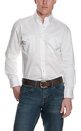 Wrangler Men's White Painted Desert Long Sleeve Western Shirt - Big & Tall