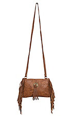 American West Honky Tonk Collection Golden Tan Floral Embossed with Fringe Crossbody Bag