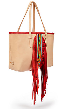 Consuela Kailey Aztec Beaded with Red Fringe Breezy Leather Tote Bag