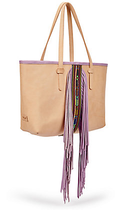 Consuela Kai Aztec Beaded with Lilac Purple Fringe Breezy Leather Tote Bag