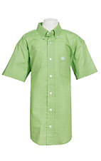 Cinch Boy's Lime Green Mini Geo Print S/S Western Shirt