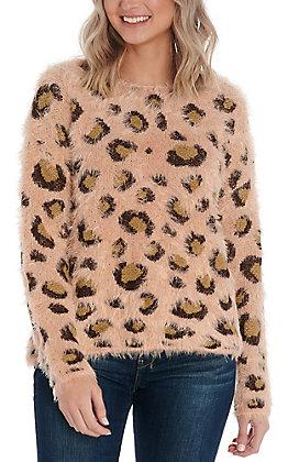 Hem & Thread Women's Blush Leopard Print Sweater