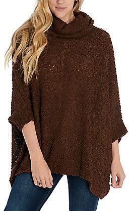 Hem & Thread Women's Brown Turtle Neck Dolman Sleeve Sweater