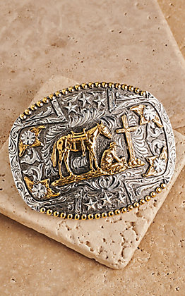 AndWest Two-Tone Oval Praying Cowboy Belt Buckle